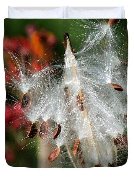 Flying Milkweed Silk Duvet Cover by Sabrina L Ryan