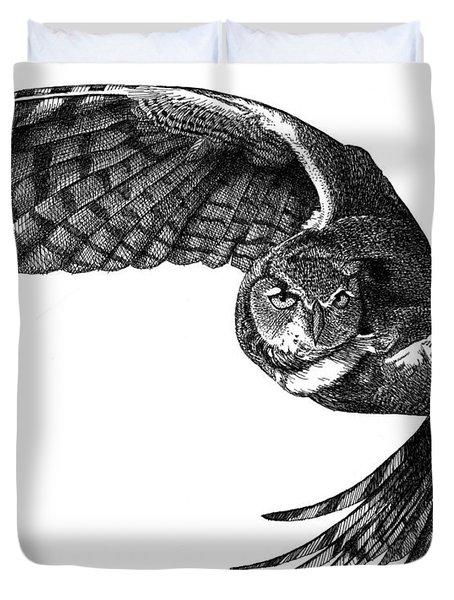 Flying Owl Duvet Cover