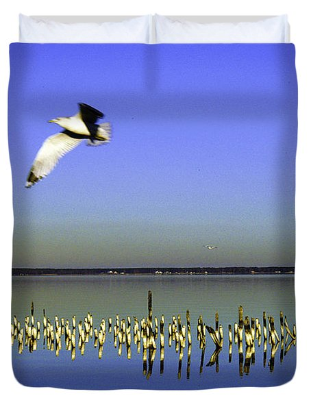 Duvet Cover featuring the photograph Flying Solo by Clayton Bruster