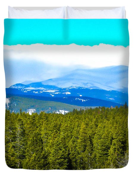 Duvet Cover featuring the photograph Fog In The Rockies by Shannon Harrington