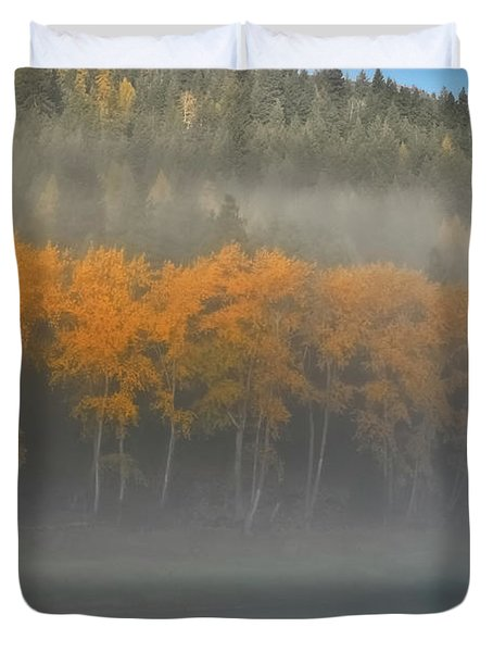 Duvet Cover featuring the photograph Foggy Autumn Morning by Albert Seger