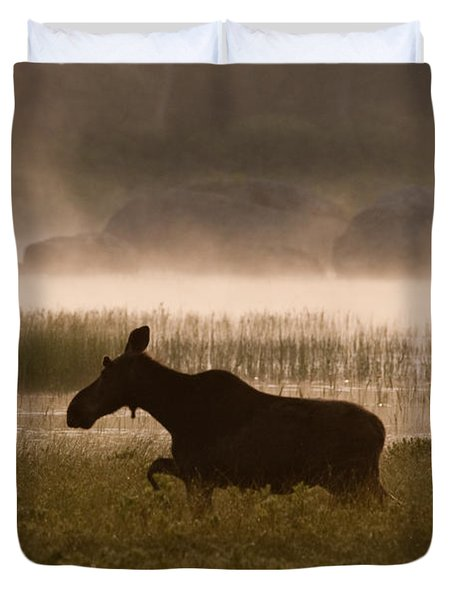 Duvet Cover featuring the photograph Foggy Stroll by Brent L Ander