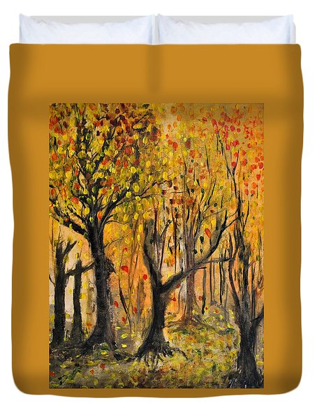 Duvet Cover featuring the painting Foliage by Evelina Popilian