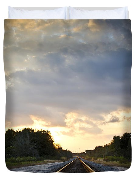 Follow The Tracks Duvet Cover by Carolyn Marshall