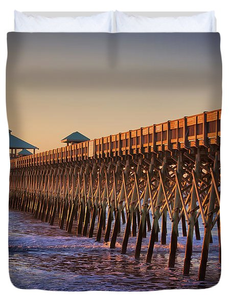 Folly Beach Pier Duvet Cover