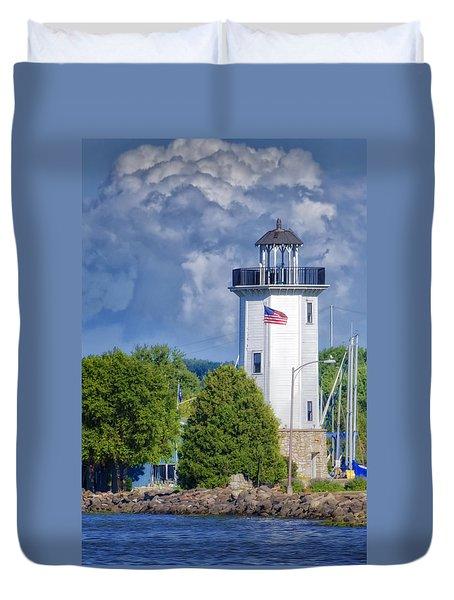 Fond Du Lac Lighthouse Duvet Cover by Joan Carroll