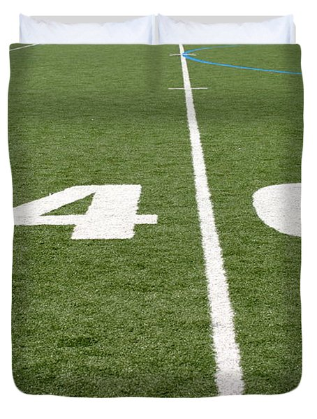 Duvet Cover featuring the photograph Football Field Forty by Henrik Lehnerer