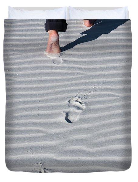 Footprint On White Sand Duvet Cover
