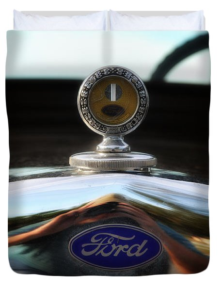 Ford Model T Hood Ornament Duvet Cover by Bill Cannon