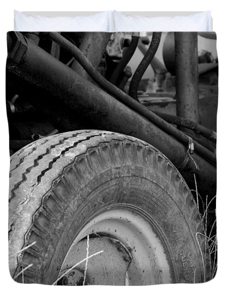 Ford Tractor Details In Black And White Duvet Cover by Jennifer Ancker