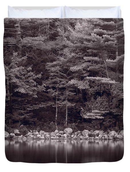 Forest At Jordan Pond Acadia Bw Duvet Cover by Steve Gadomski