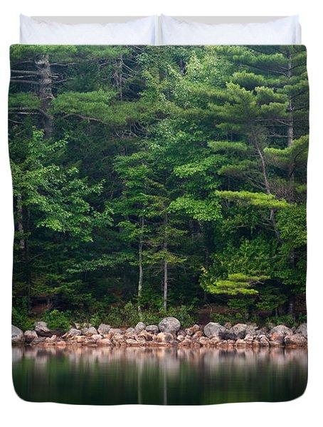 Forest At Jordan Pond Acadia Duvet Cover by Steve Gadomski