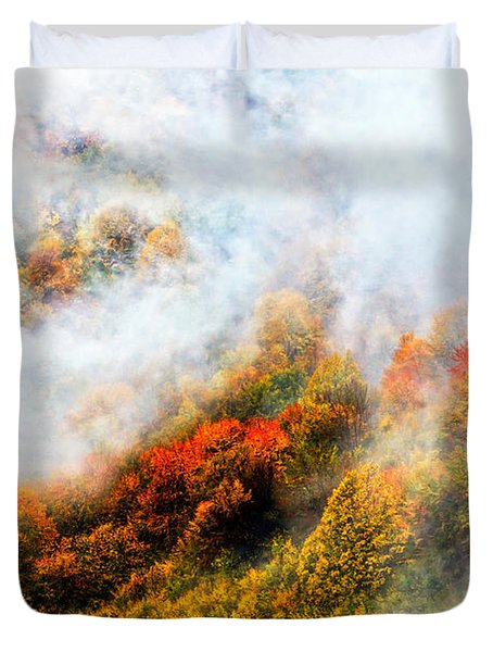 Forest In Veil Of Mists Duvet Cover by Evgeni Dinev