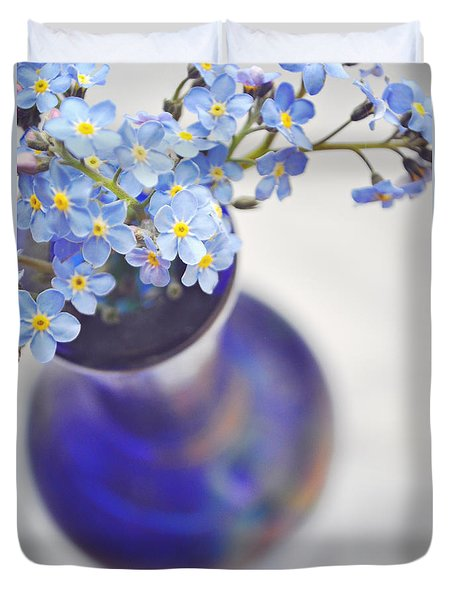 Forget Me Nots In Deep Blue Vase Duvet Cover
