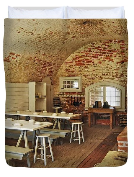 Fort Macon Mess Hall_9078_3765 Duvet Cover by Michael Peychich