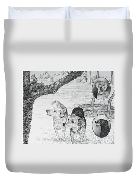 Four Dogs And A Squirrel Duvet Cover