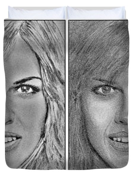 Four Interpretations Of Hilary Swank Duvet Cover by J McCombie