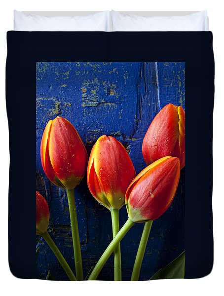 Four Orange Tulips Duvet Cover by Garry Gay