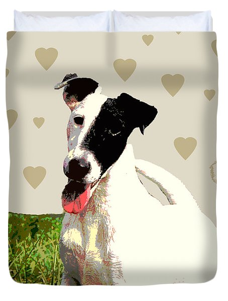 Fox Terrier Smooth Duvet Cover by One Rude Dawg Orcutt