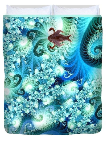 Duvet Cover featuring the digital art Fractal And Swan by Odon Czintos