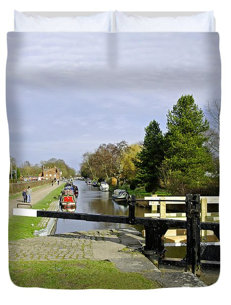 Fradley Middle Lock No. 18 Duvet Cover by Rod Johnson
