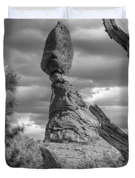 Framed Balance Rock Bw Duvet Cover