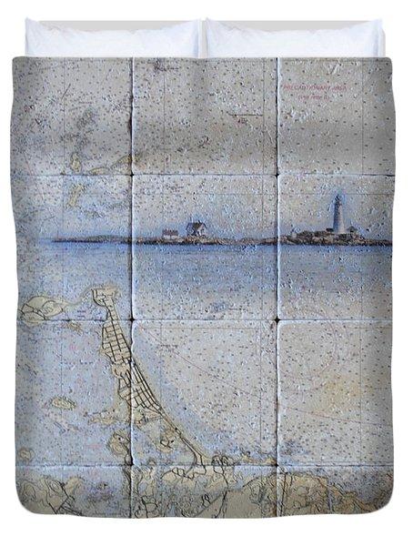 Framed Nautical Chart Of Hingham And Hull With Boston Light  Duvet Cover