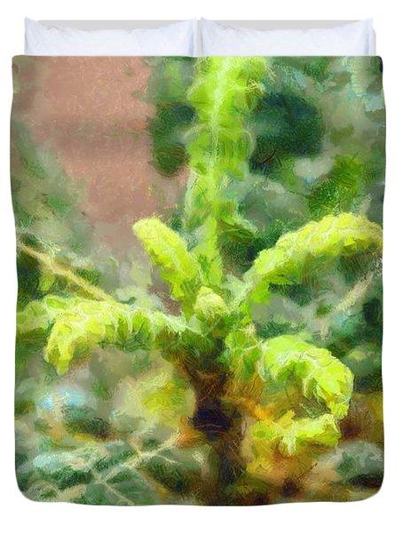Frankincense Tree Leaves Duvet Cover