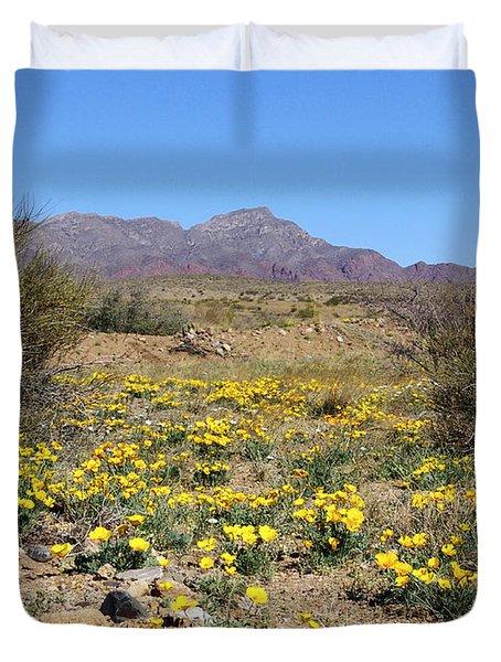 Franklin Mt. Poppies Duvet Cover by Kurt Van Wagner