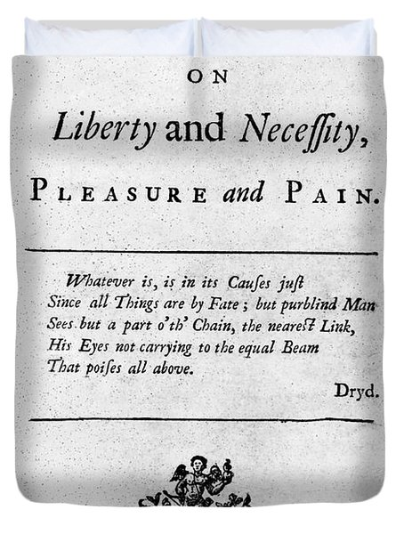 Franklin: Title Page, 1725 Duvet Cover by Granger