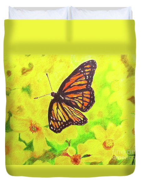 Duvet Cover featuring the drawing Free To Fly by Beth Saffer
