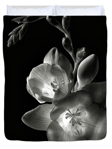 Freesia In Black And White Duvet Cover