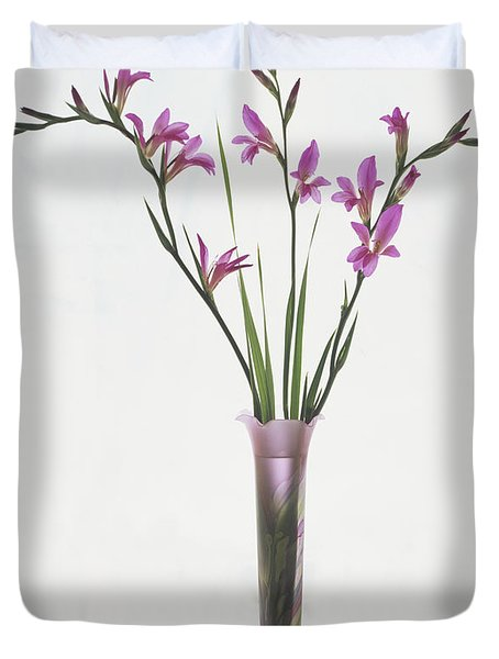 Freesias In Vase Duvet Cover