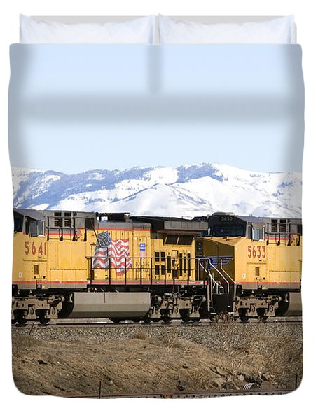 Freight Train East Of Boise Duvet Cover by David R Frazier and Photo Researchers