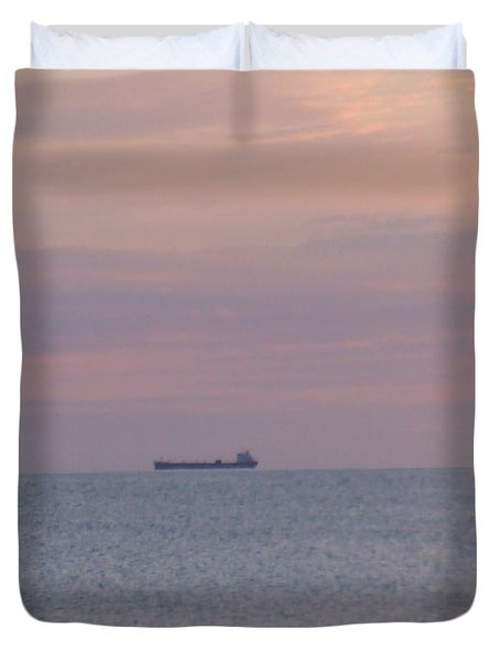 Duvet Cover featuring the photograph Freighter by Bonfire Photography