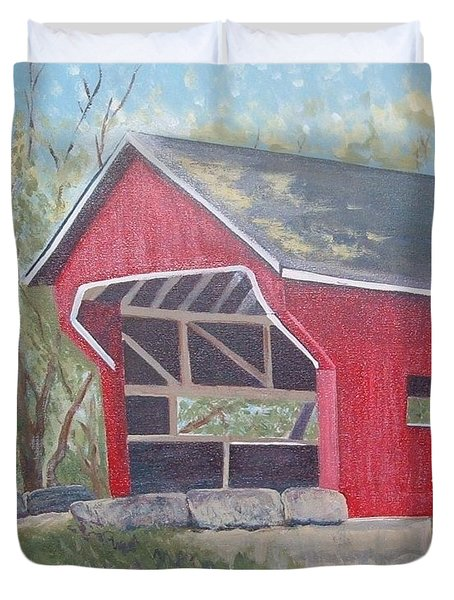 French Lick Covered Bridge Duvet Cover by Julie Cranfill