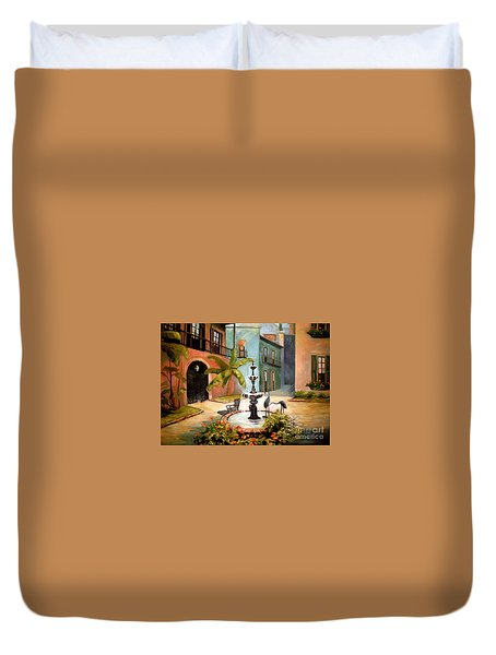 French Quarter Fountain Duvet Cover