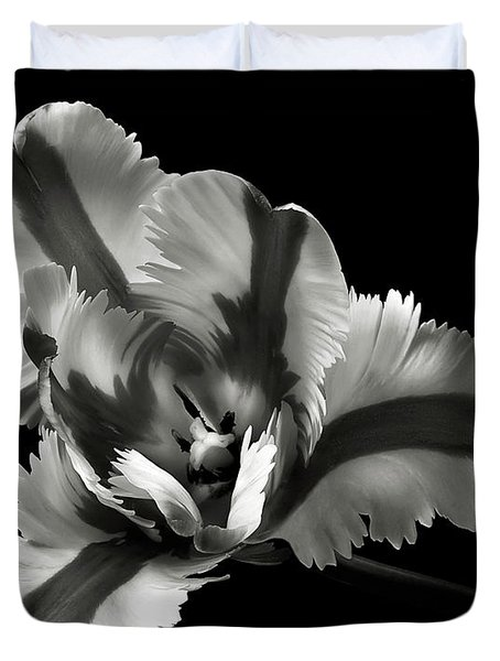 French Tulip In Black And White Duvet Cover