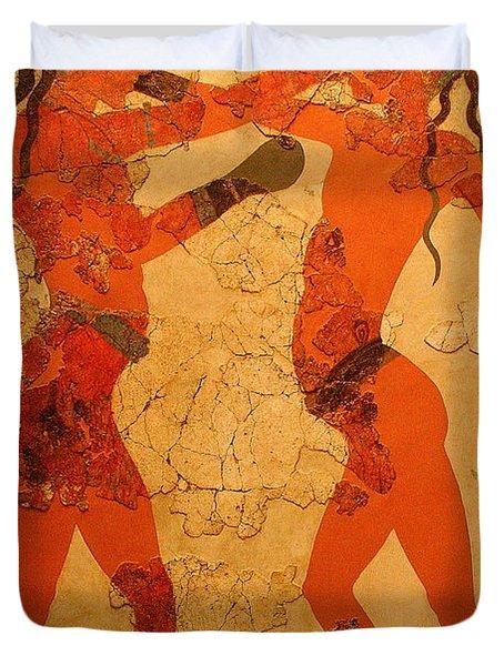 Fresco Of Boxing Children Duvet Cover