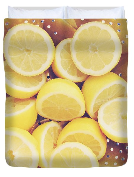 Fresh Lemons Duvet Cover by Amy Tyler