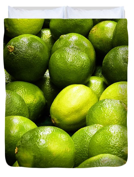 Fresh Limes Duvet Cover by Methune Hively