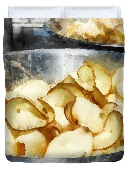 Fresh Potato Chips Duvet Cover by Susan Savad