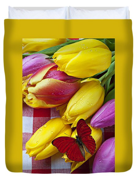 Fresh Tulips And Red Butterfly Duvet Cover by Garry Gay
