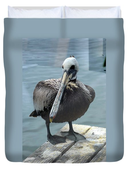 Duvet Cover featuring the photograph Friendly Pelican by Carla Parris