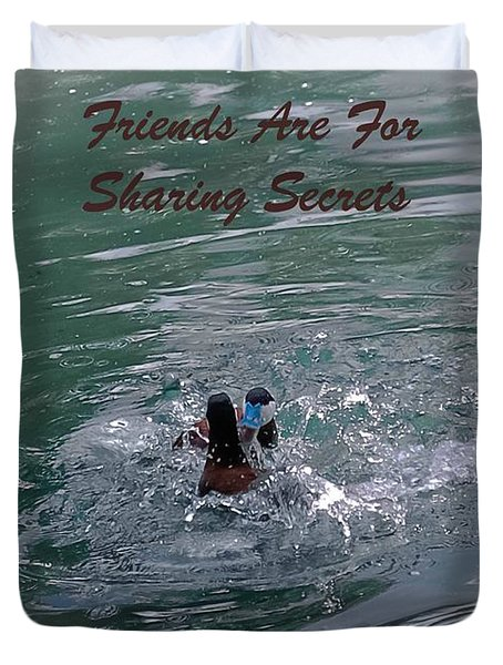Friends Are For Sharing Secrets Duvet Cover by DigiArt Diaries by Vicky B Fuller