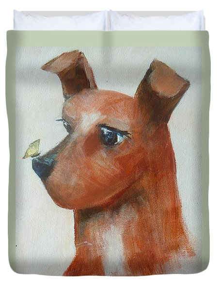 Duvet Cover featuring the painting Friends Are Friends by Dan Whittemore
