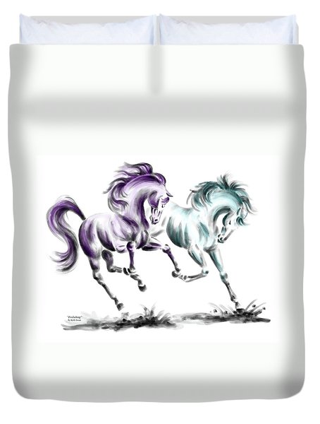 Frolicking - Wild Horses Print Color Tinted Duvet Cover by Kelli Swan