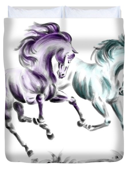 Frolicking - Wild Horses Print Color Tinted Duvet Cover