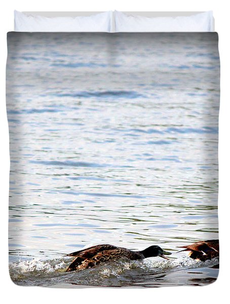 Duvet Cover featuring the photograph Frolicking Fun by Kathy  White