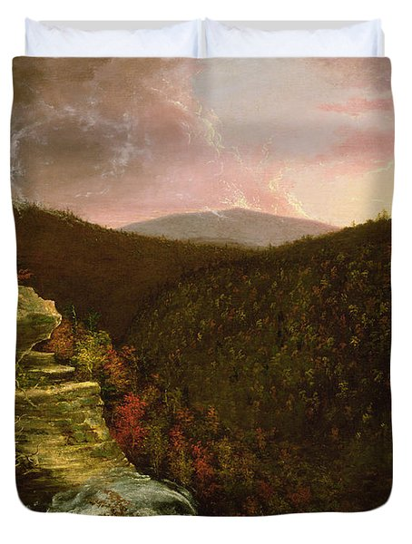 From The Top Of Kaaterskill Falls Duvet Cover by Thomas Cole